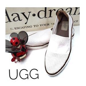 UGG Sammy White Knit Slip On Espadrilles Size 9
